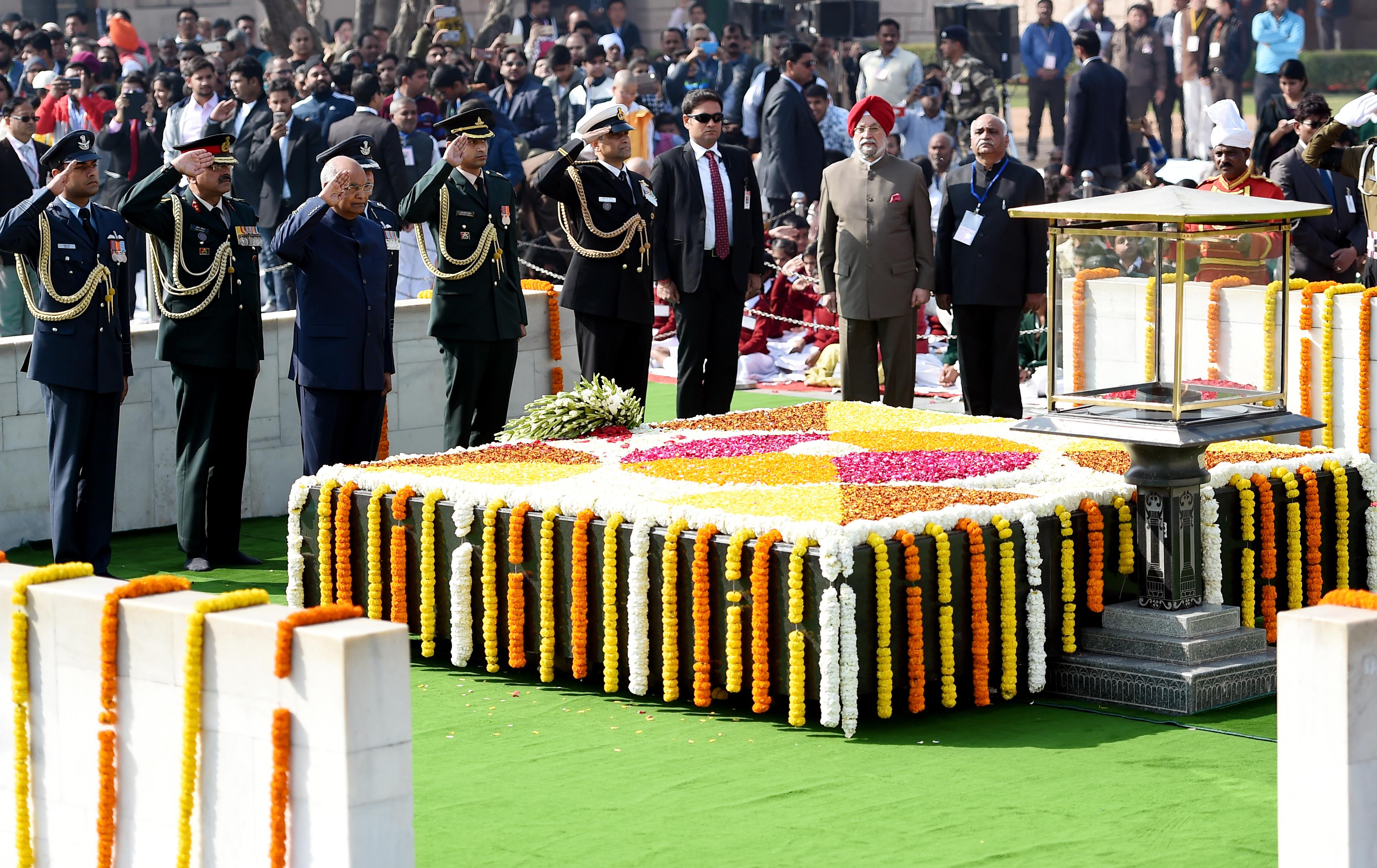 El presidente indioRam Nath Kovind en el homenaje en Nueva Delhi (AFP)