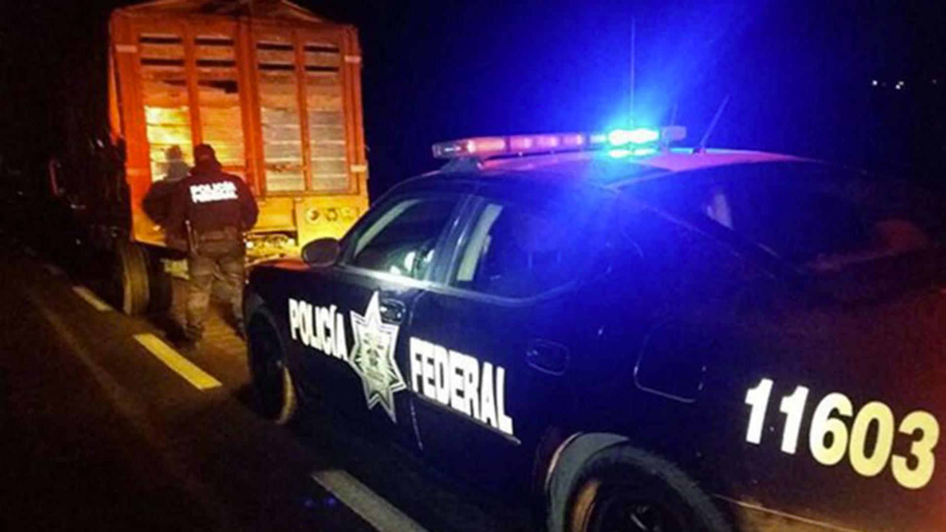 La Policía Federal mexicana revisó la camioneta que tenía las puertas y el cofre abiertos. en la caja estaba el menor, seguía dormido.