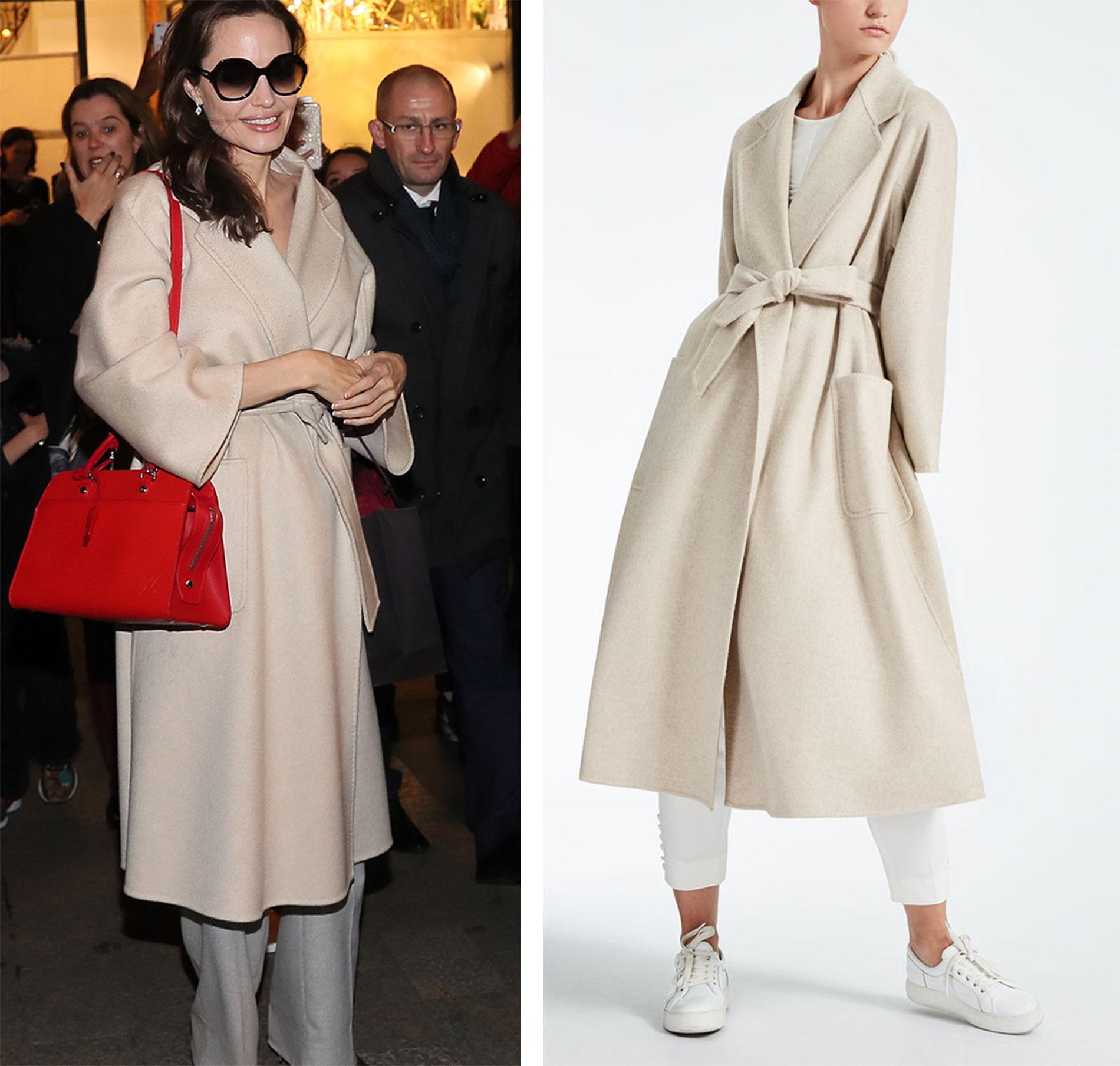 Angelina con un abrigo de Max Mara.