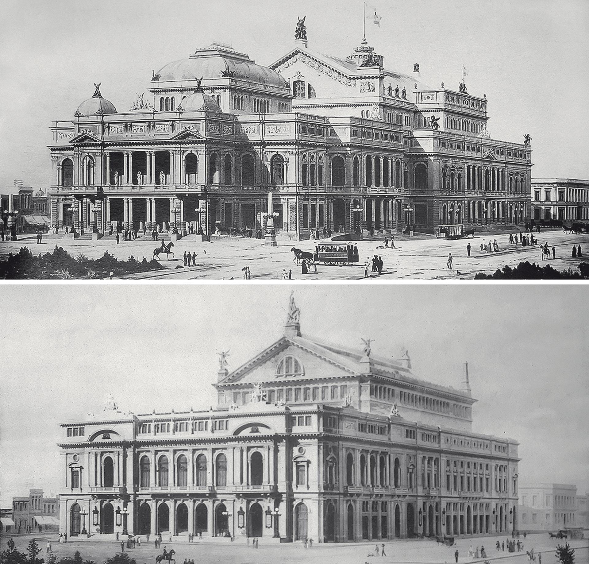 Dos proyectos del Teatro Colón. Arriba, la perspectiva de Francesco Tamburini, 1885. Abajo, la perspectiva de Vittorio Meano 1892 (Biblioteca de la Sociedad Central de Arquitectos)