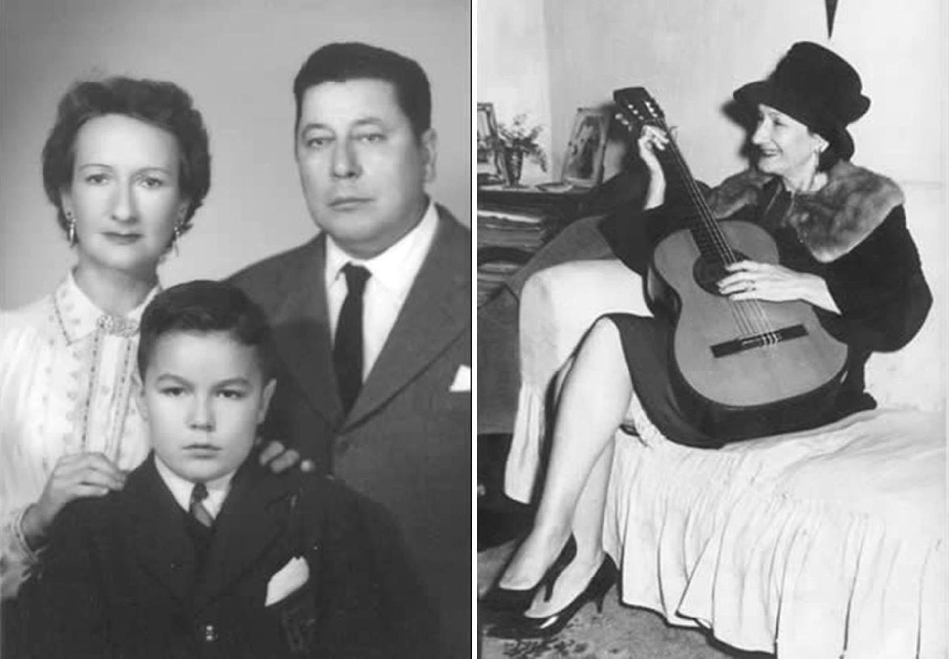 La familia (Nennete, Roberto y Atahualpa) / Nenette tocando la guitarra