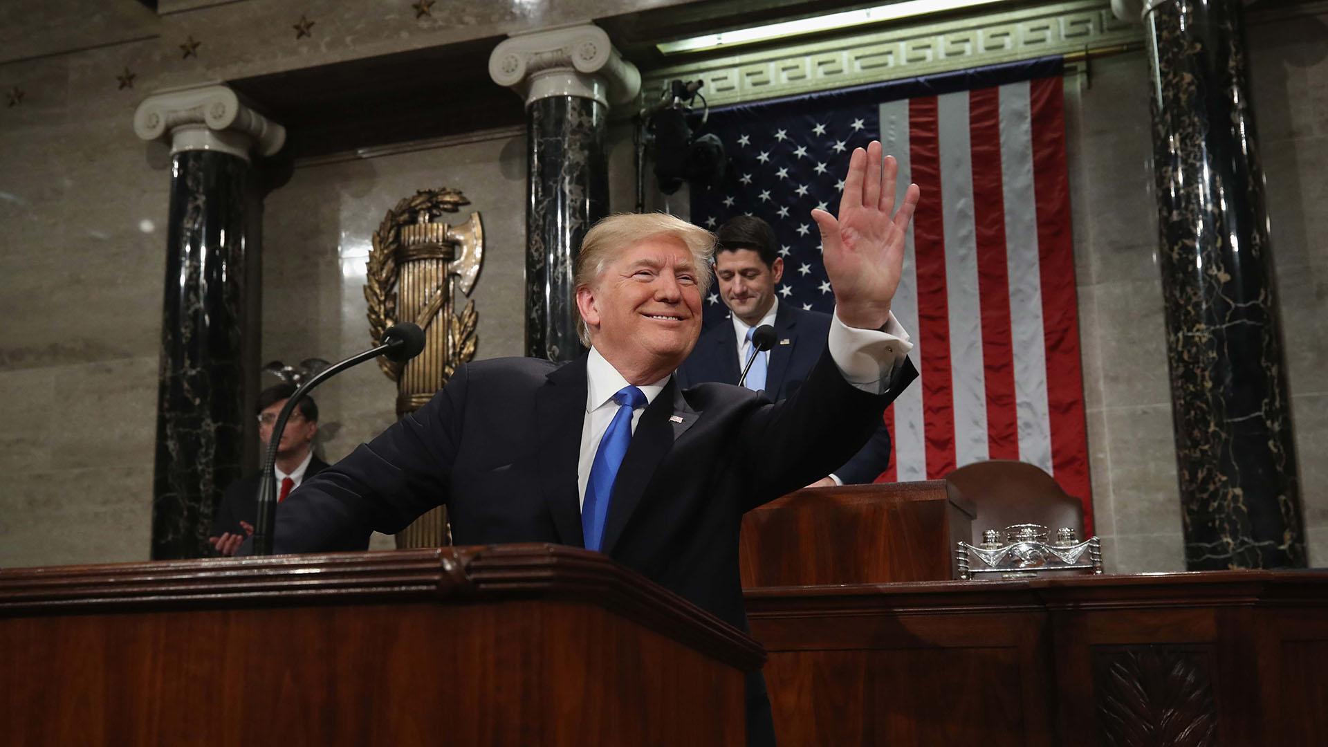 El presidente de los Estados Unidos, Donald Trump, durante su primer discurso sobre el Estado de la Unión. (REUTERS)