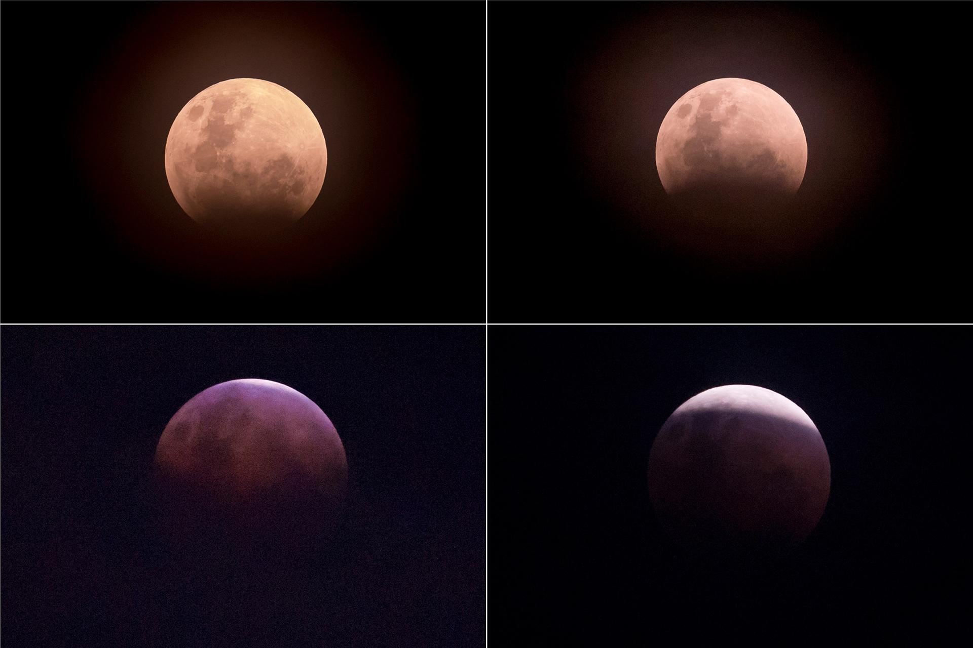 """Esta imagen combinada (desde arriba a la izquierda en sentido horario) muestra la luna durante un eclipse lunar llamado """"superluna de sangre azul"""" en Yakarta, el 31 de enero de 2018"""