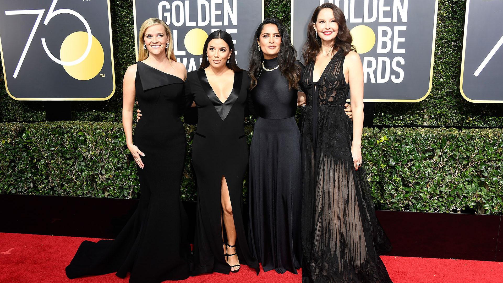 Reese Witherspoon, Eva Longoria, Salma Hayek, y Ashley Judd adoptaron el negro en los Golden Globes, impulsando el movimiento Time's Up en laalfombra roja
