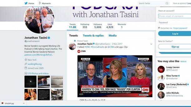 El perfil de Twitter de Jonatha Tasini