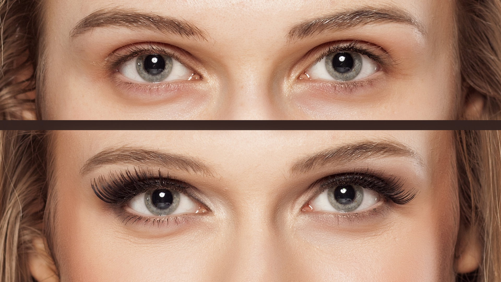 Comparación de una mirada con pestañas naturales vs. extensiones de pestañas (Getty Images)