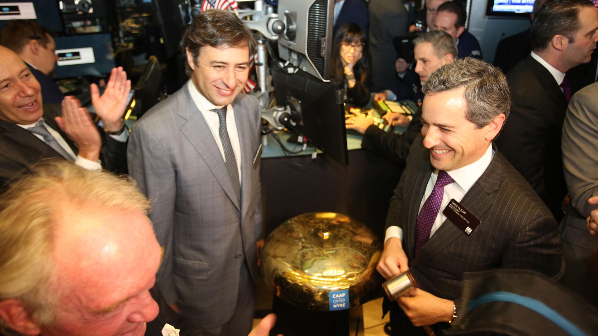 Martín Eurnekian en el toque de campana en NYSE