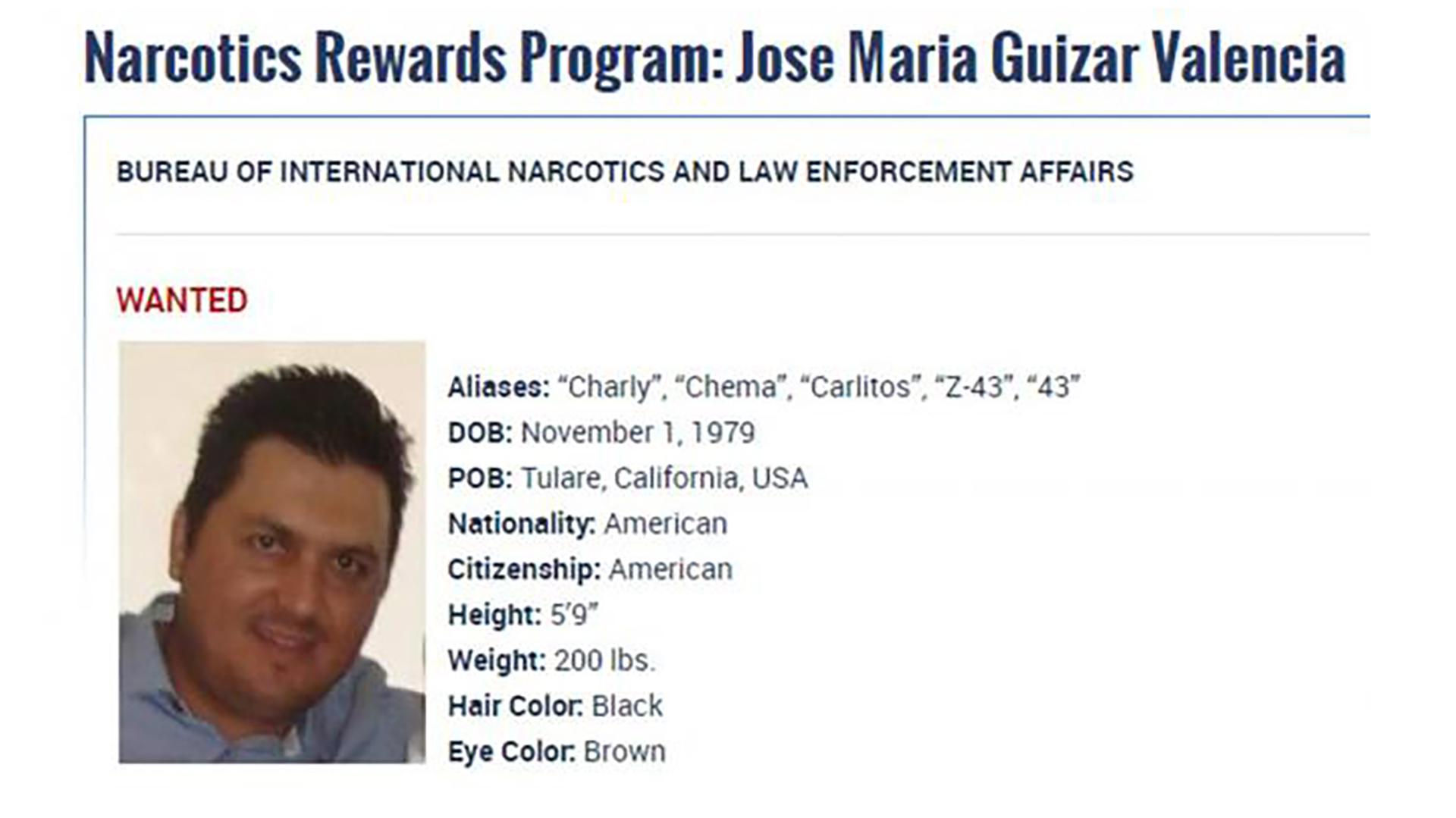 La ficha de José María Guizar Valencia en el Departamento de Estado de los Estados Unidos