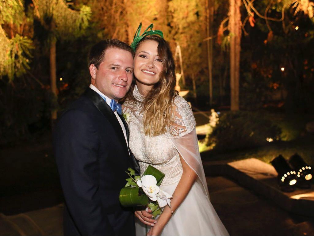 Alex Campbell y Melina Gadano, en su casamiento el pasado sábado