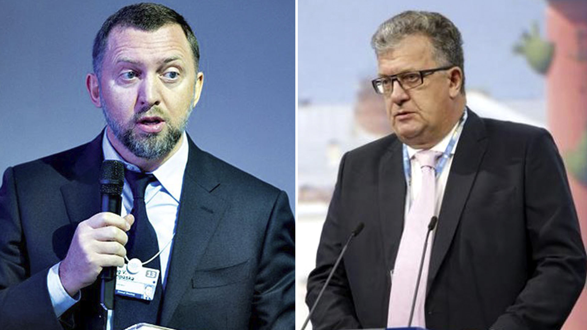 El magnate del aluminio Oleg Deripaska y el vice primer ministro ruso Sergey Prikhodko