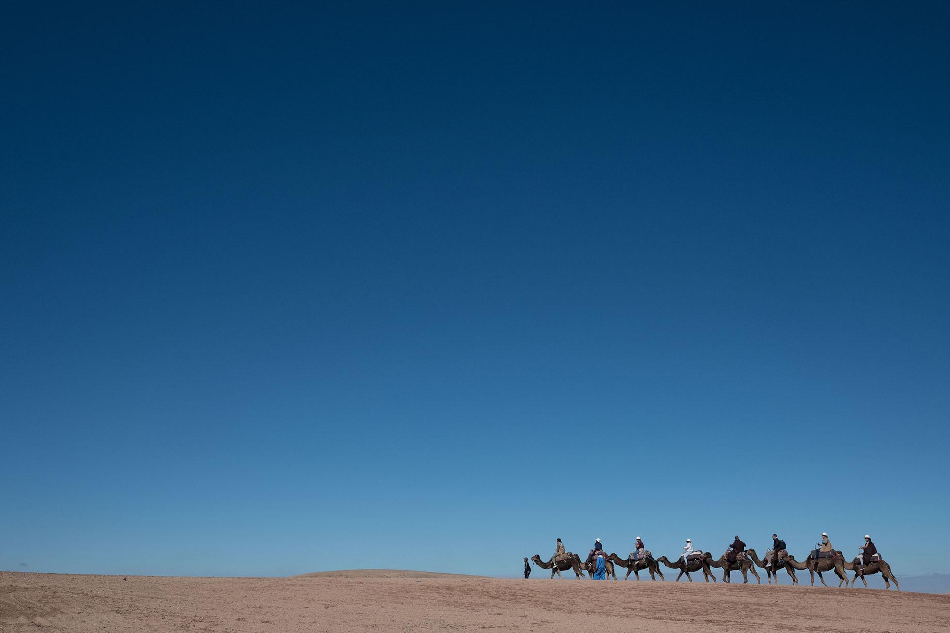 Los invitados disfrutaron de una travesía por el desierto de Agafay a bordo de camellos