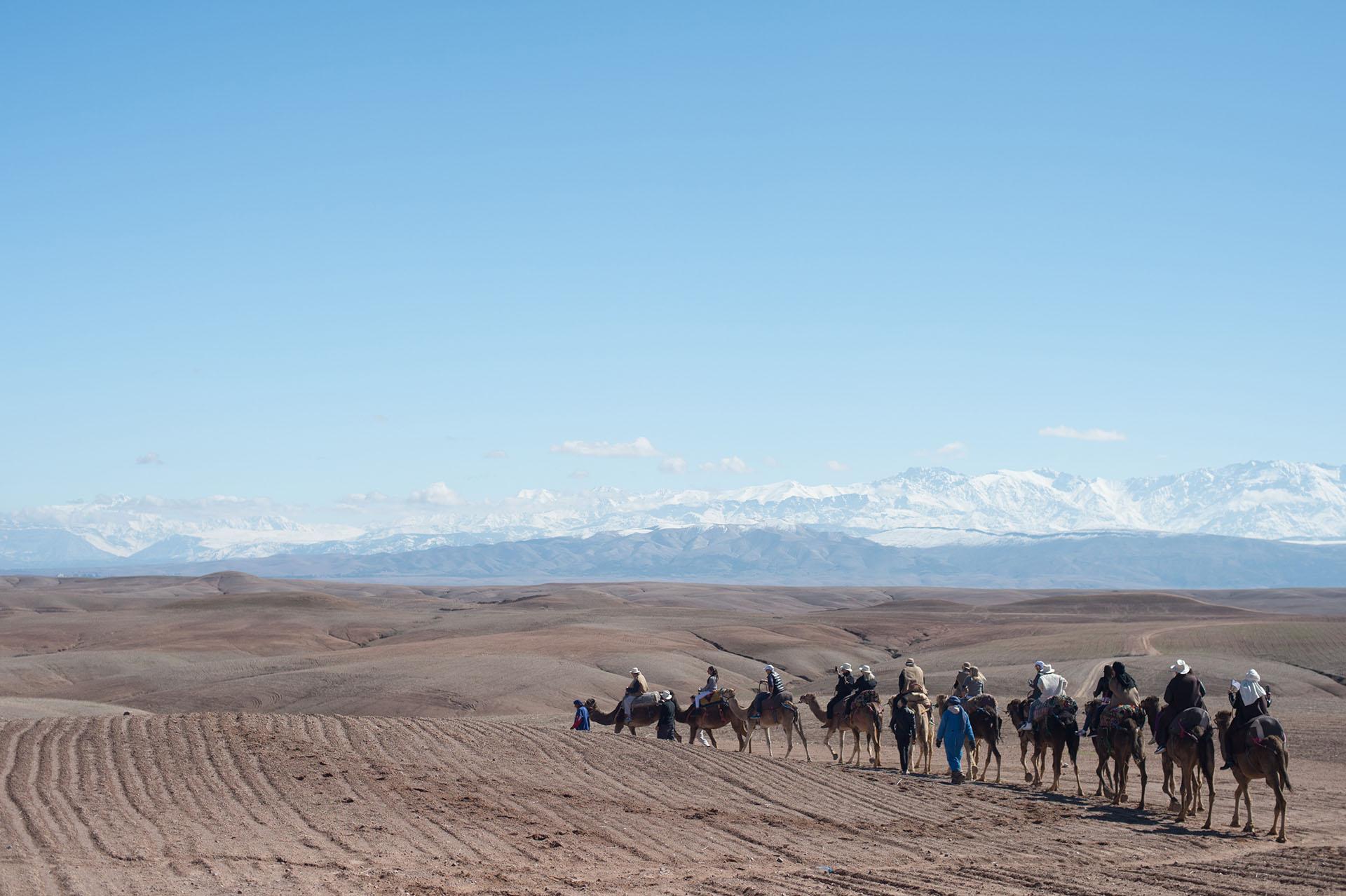 Los invitados disfrutaron del paisaje en el desierto de Agafay