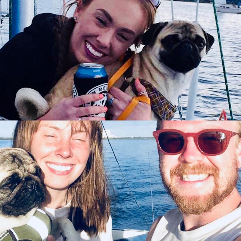 Tiempos felices para la pareja, a bordo de su velero junto a su mascota Remy
