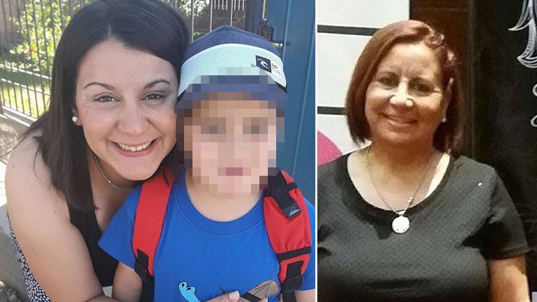 Mayra Bueno junto a su hijo Lautaro. A la derecha, su madre Mónica. (www.elsol.com.ar)