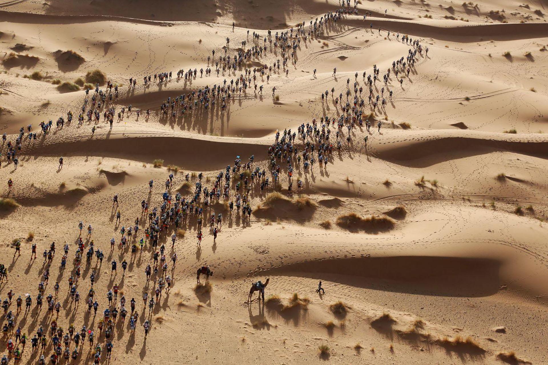 Marathon des Sables – Maratón de Sables: corredores en la Maratón de Sables (La Maratón de las Arenas), Desierto del Sahara, Marruecos, que comenzó el 9 de abril. (Erik Sampers, Francia)