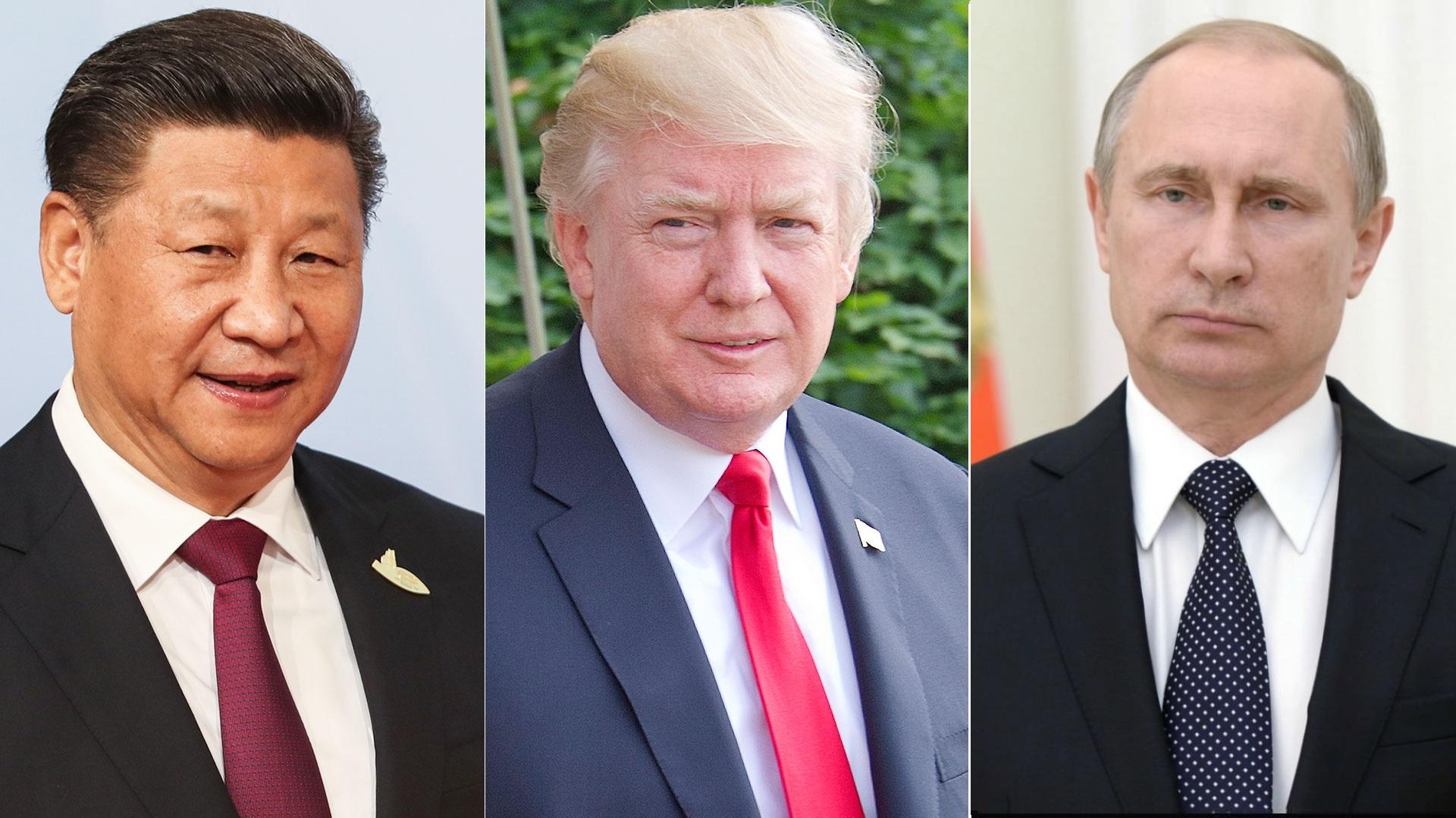 Xi Jinping, presidente de China; Donald Trump, de los Estados Unidos; y Vladimir Putin, Rusia