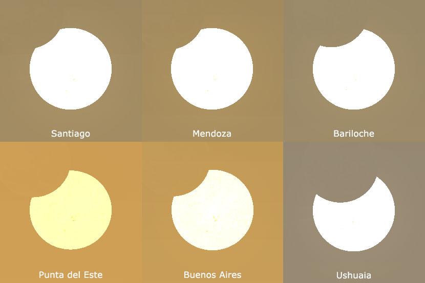 Así se verá el eclipse en distintos lugares del país