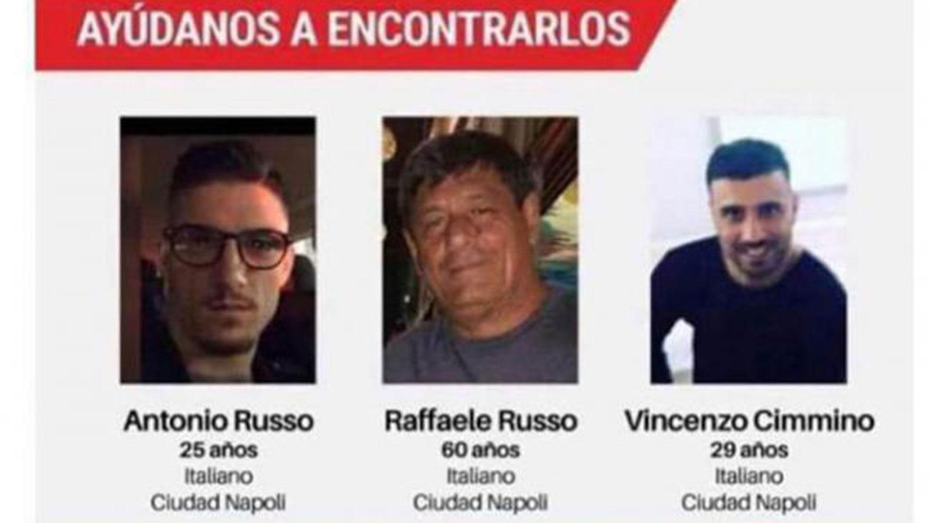 Los tres italianos desaparecieron hace 20 días en Jalisco.