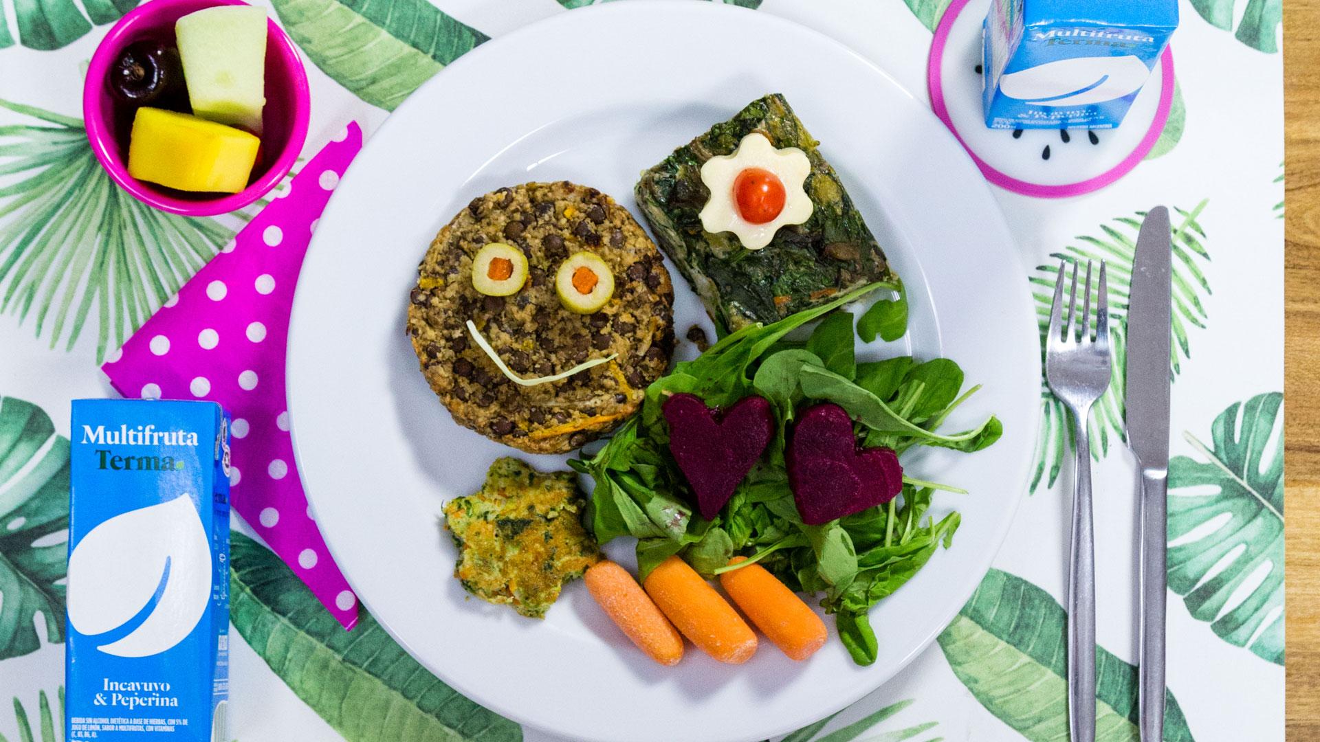 La primera de las recetas en opción veggie: hamburguesa de lentejas y tortilla de vegetales.