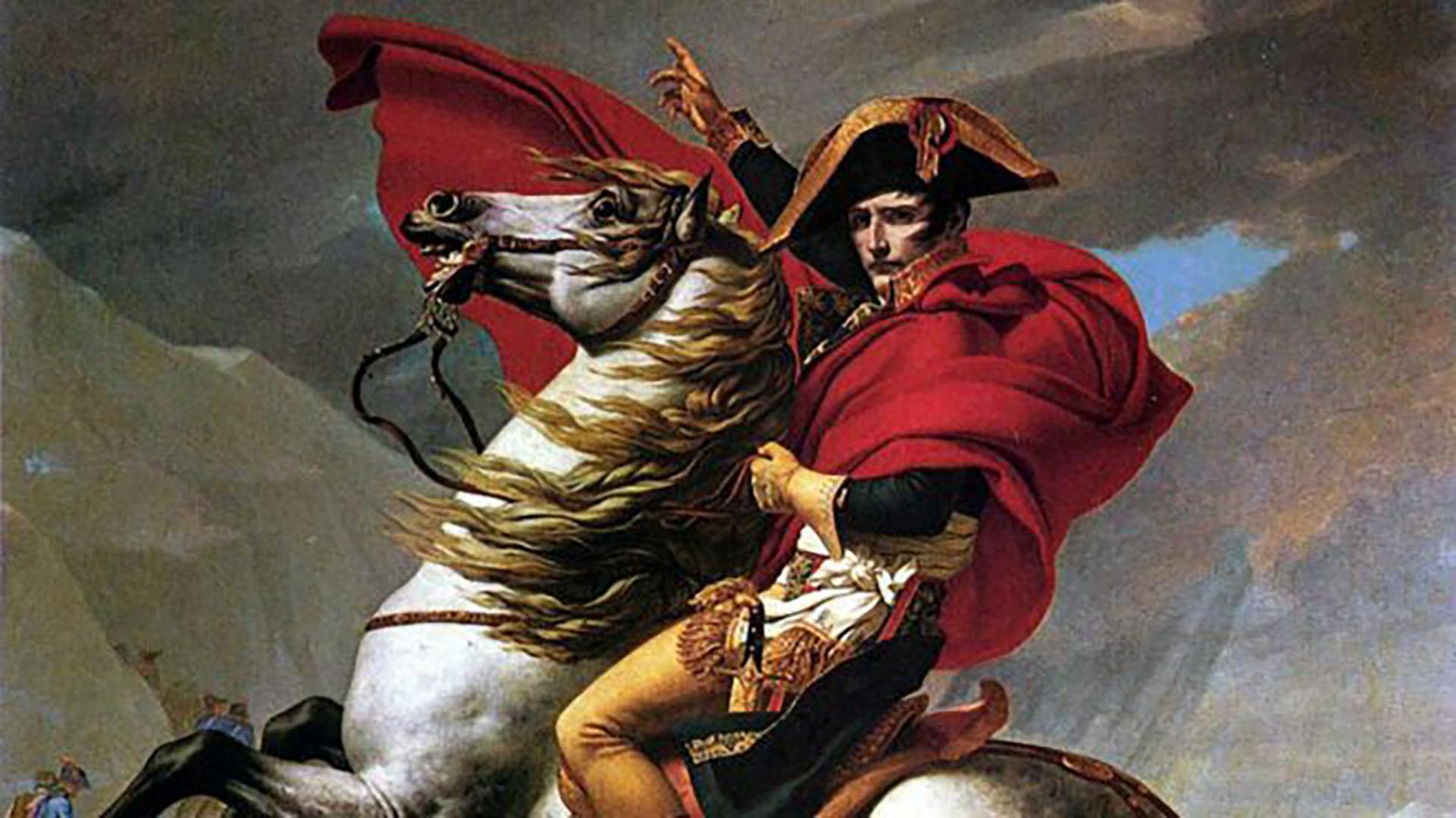 Napoléon Bonaparte, en el célebre retrato de Jean-Loui David