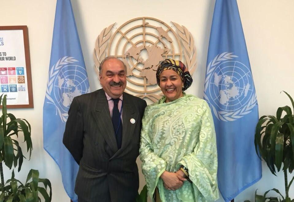 El sherpa de la Argentina ante el G20, Pedro Villagra Delgado, con la directora ejecutiva de ONU Mujeres, Phumzile Mlambo-Ngcuka