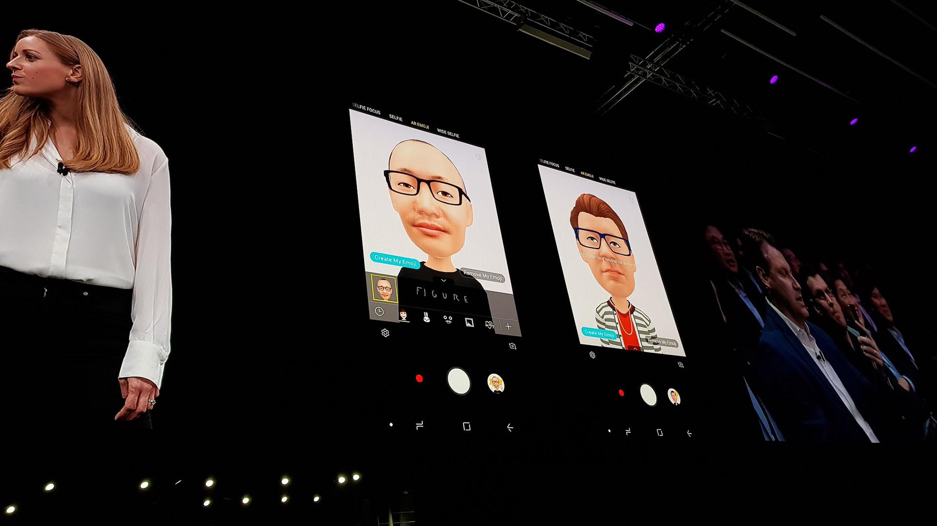 Un ejemplo de emojis personalizados que se puedencrear con realidad aumentada, una moderna función de la cámara del Galaxy S9.La herramienta analiza la foto del usuario e identifica más de 100 rasgos faciales para crear un emoji en 3D