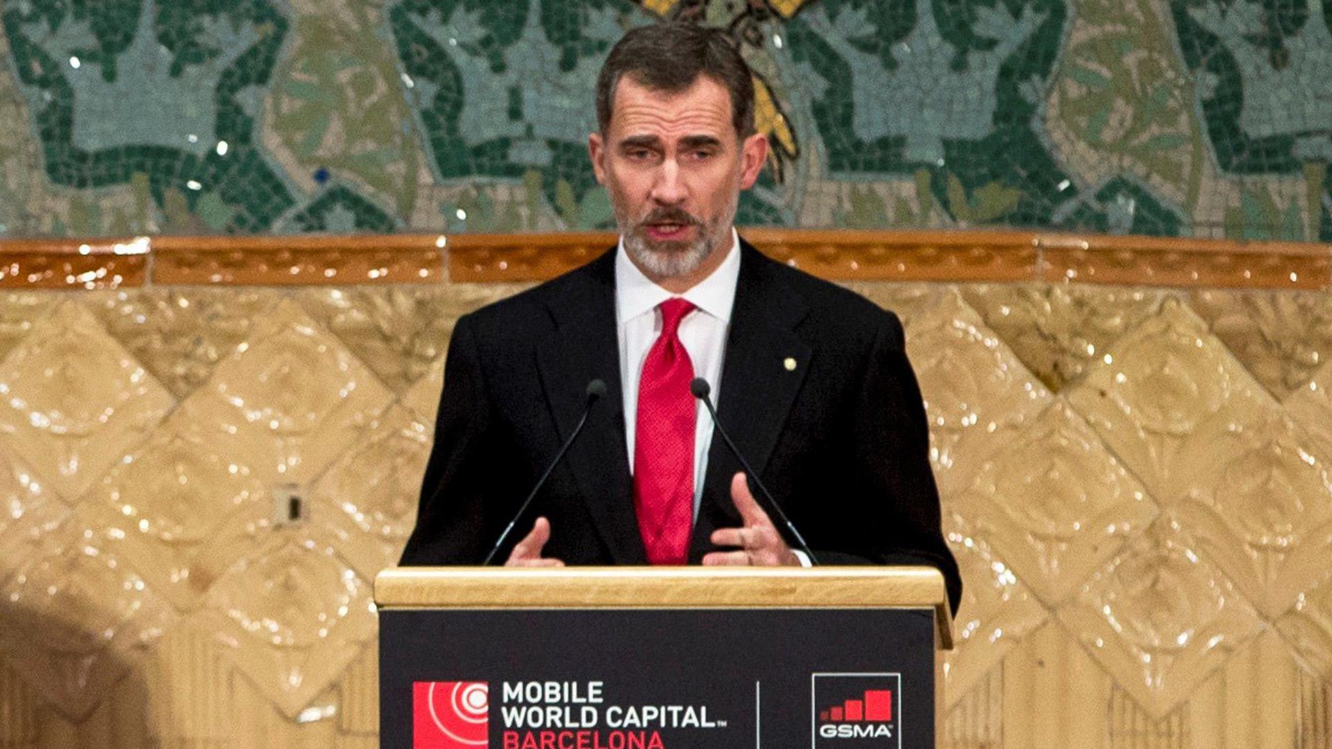 El rey Felipe VI encabezó la inauguración del congreso de telefonía móvil (EFE)