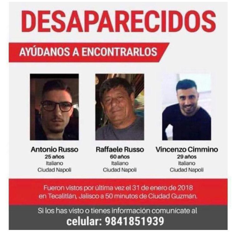 Los ciudadanos italianos, Antonio Russo, Raffaele Russo y Vincezo Cimmino fueron vistos por última vez en la ciudad de Tecalitlán, estado de Jalisco. (EFE/STR)