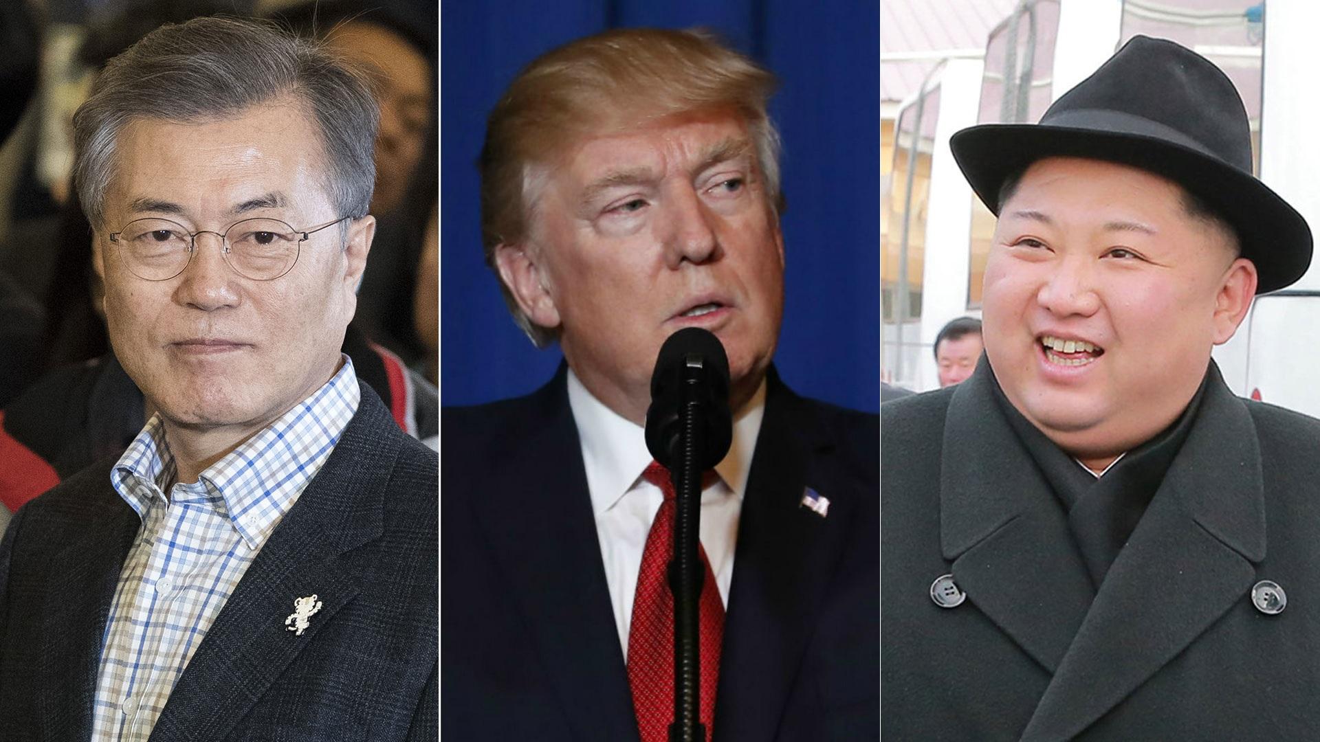 Moon Jae-in, presidente de Corea del Sur, Donald Trump, presidente de EEUU, y Kim Jong-un, dictador norcoreano