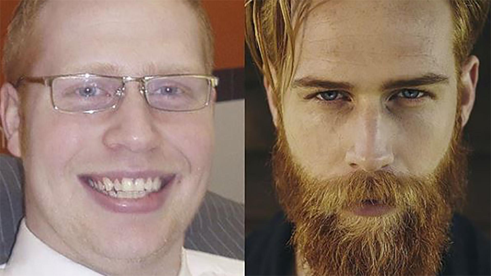 Gwilym Pugh con 40 kilos de más, sin barba y con anteojos. Hoy, con un cambio de look sorprendente arrasa en el mundo de la moda