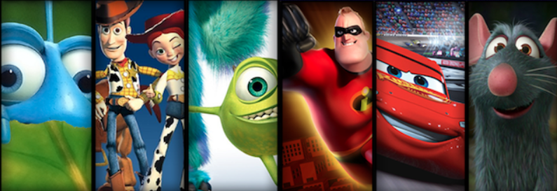 A Bugs Life, Toy Story, Monsters Inc., The Incredibles, Cars y Ratatouille.
