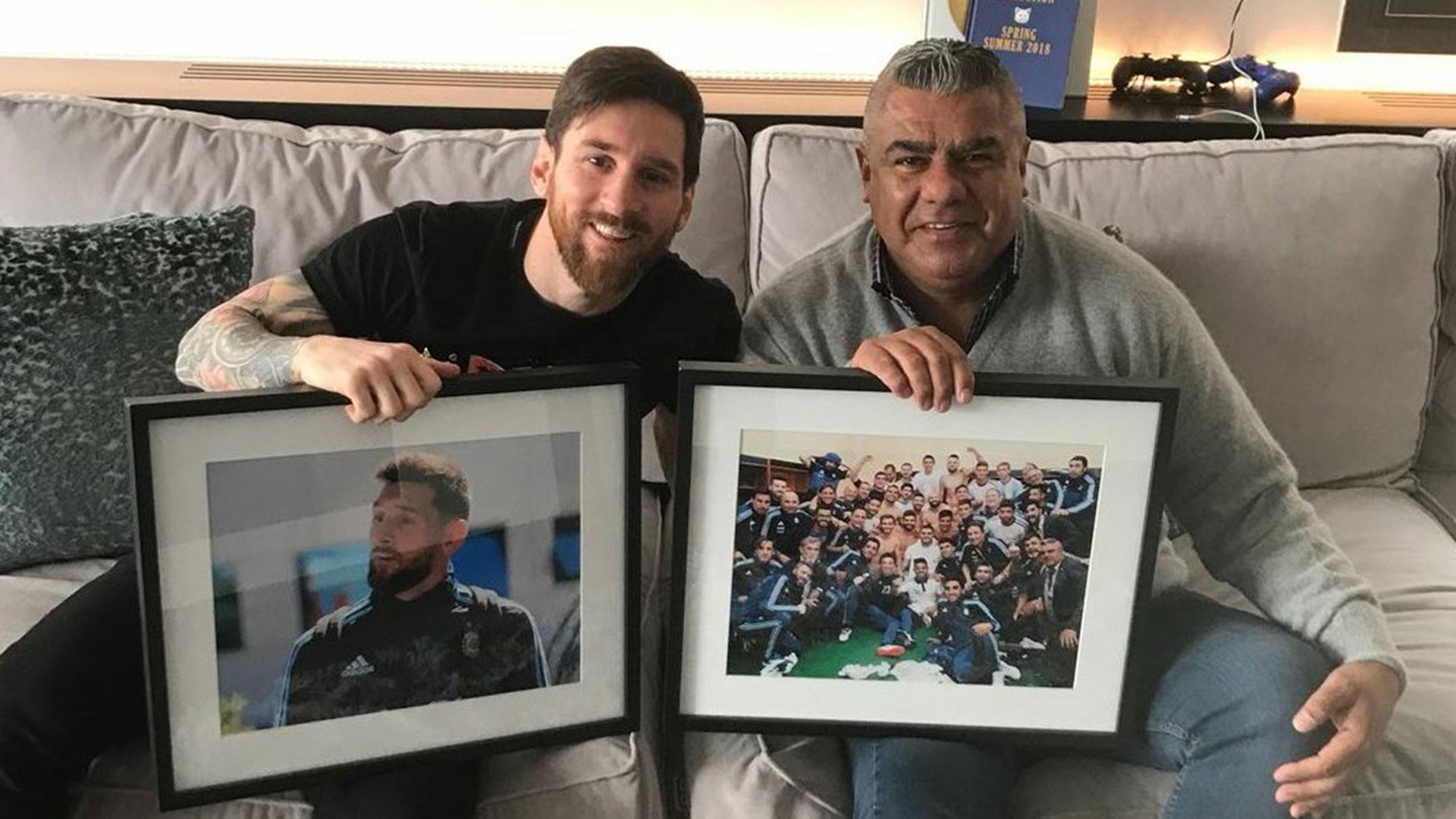 Lionel Messi y Claudio Tapia, en Barcelona