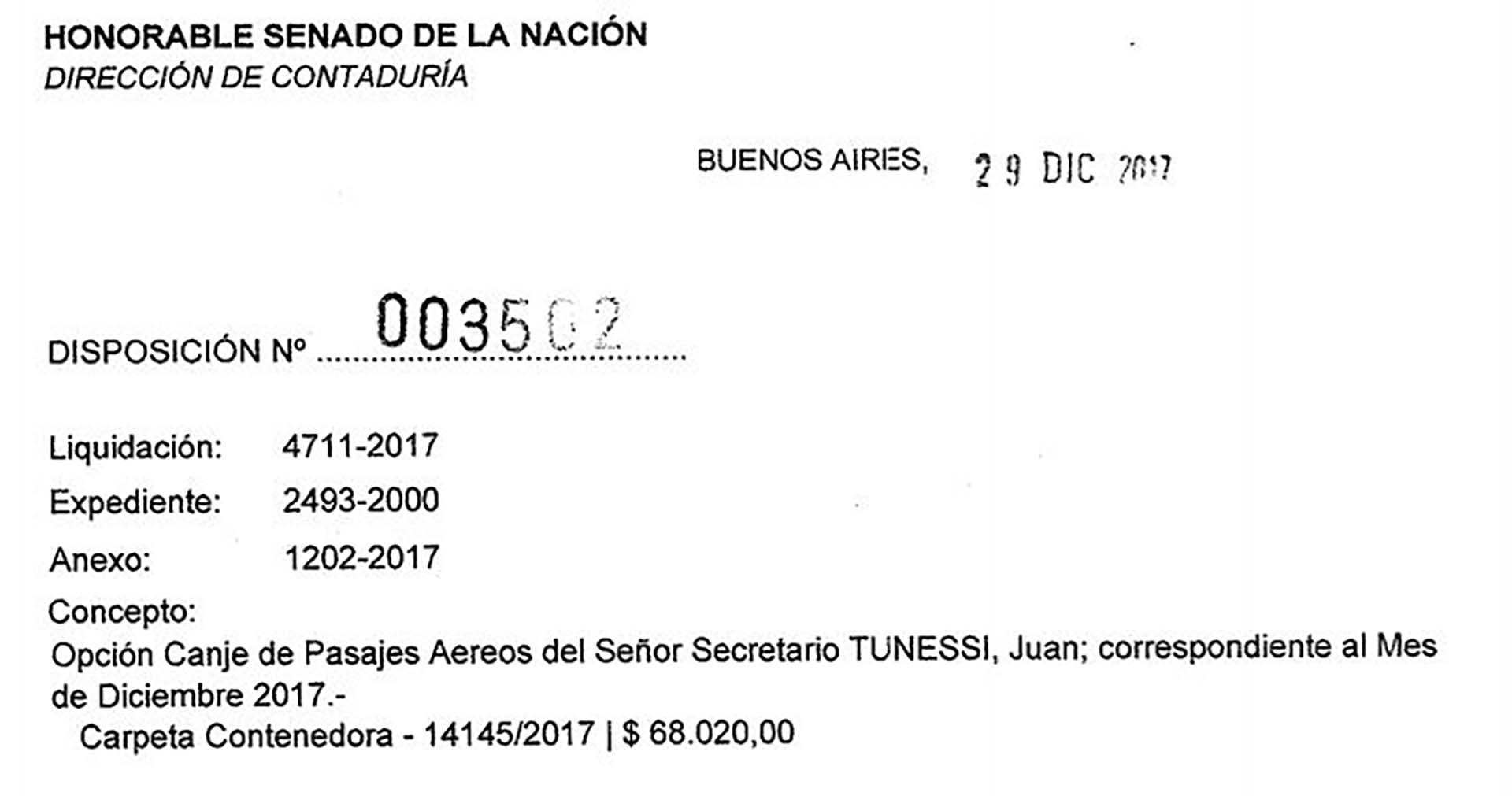 El 28 de diciembre, el secretario Juan Tunessi canjeó pasajes por $68.020