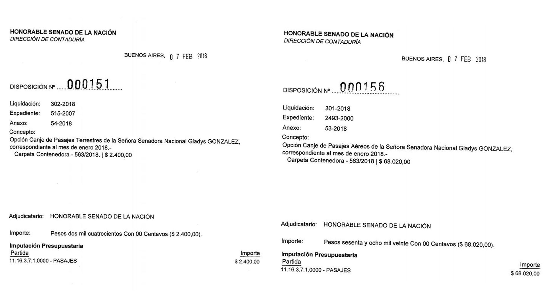 Las disposiciones 151 y 156 de 2018 de la Secretaría Administrativa aprobaron el canje de los pasajes de la senadora Gladys González.