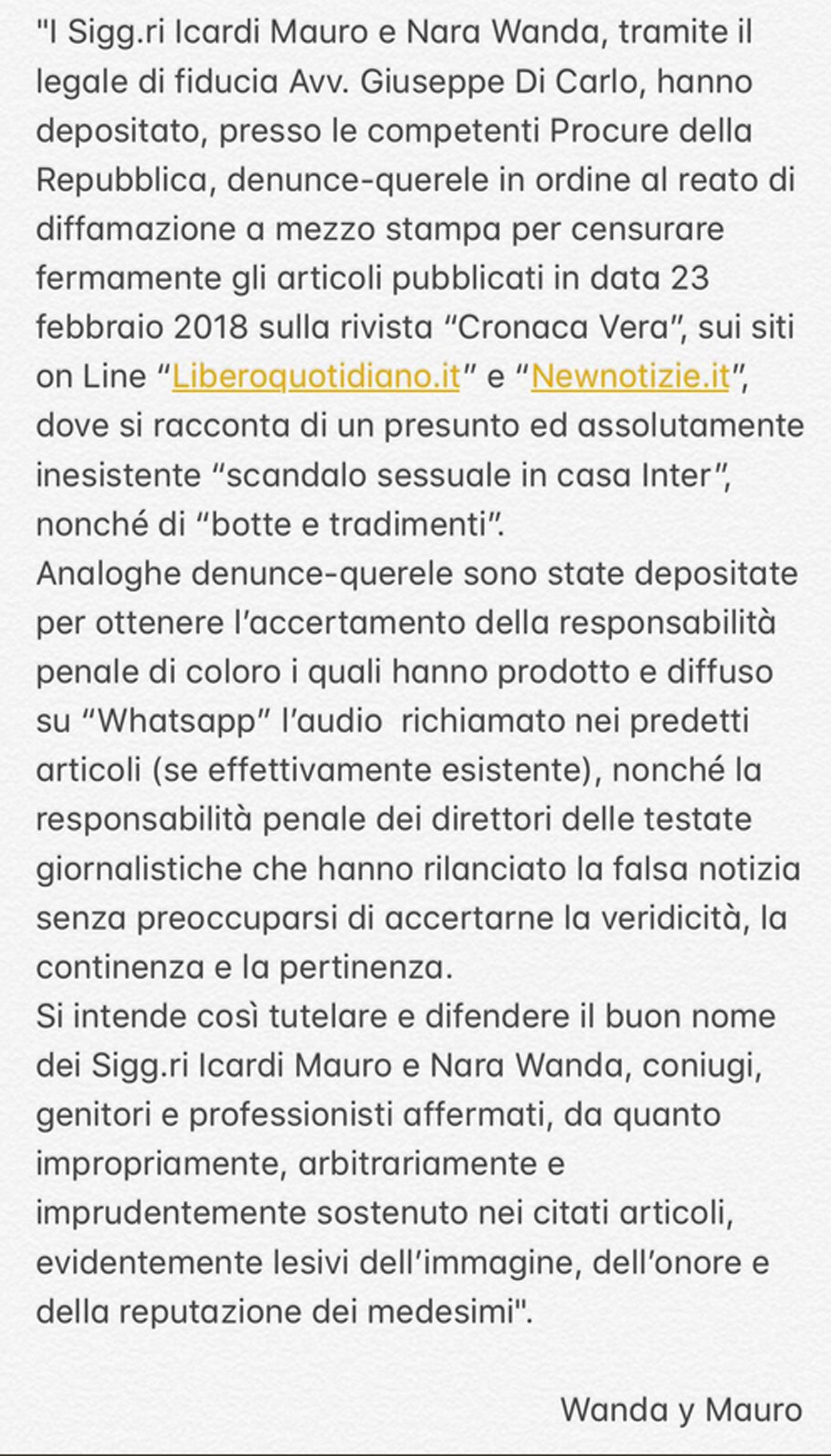 La esposa de Mauro Icardi detalló las acciones legales que ralizará.