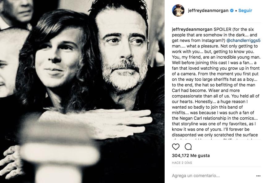 Jeffrey Dean Morgan escribió un emotivo mensaje a Chandler Riggs en su cuenta de Instagram.