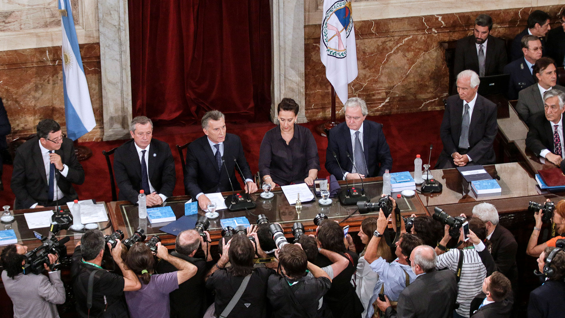 Macri durante la Asamblea Legislativa de 2017