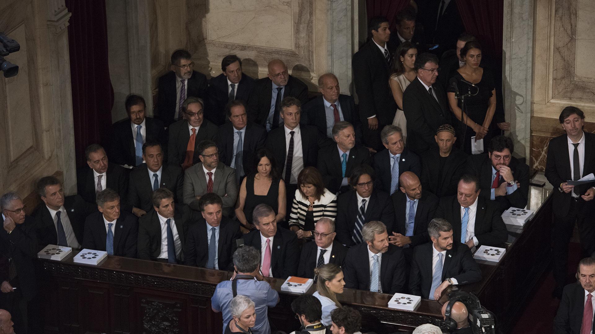 El palco con los ministros y otros funcionarios del oficialismo