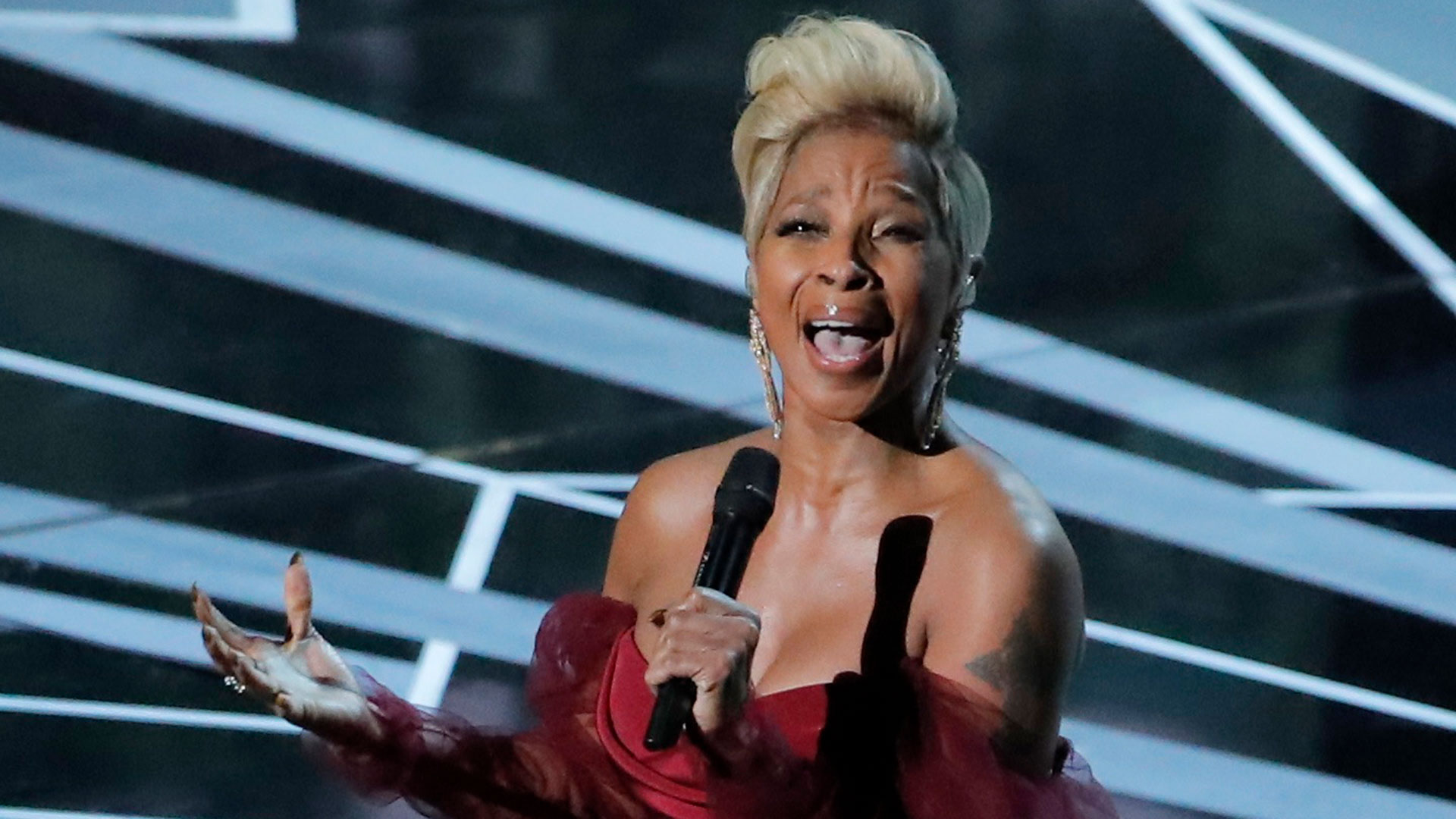 Mary Jane Blige entonó Mighty river, tema de la nominada Mudbound (Reuters)