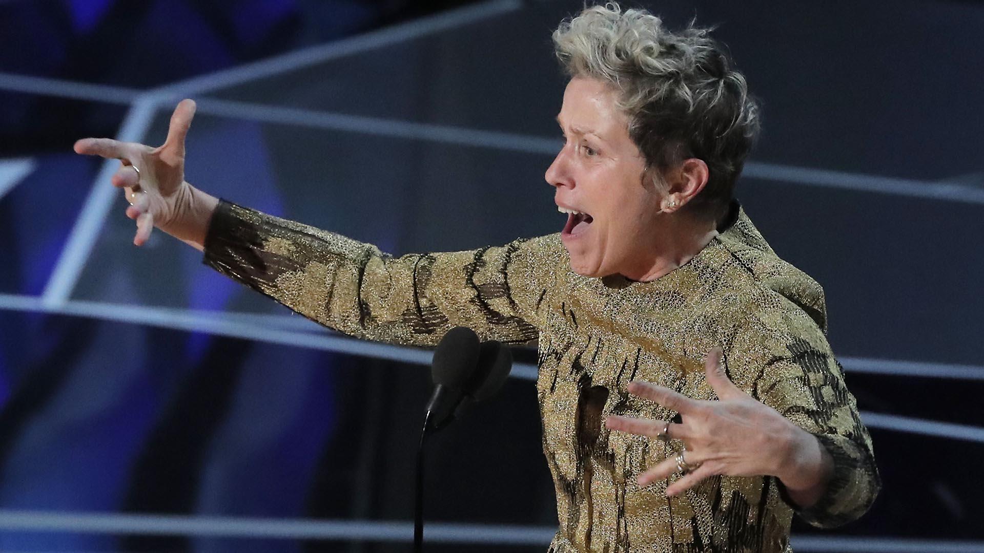 Luego de agradecer el premio, Frances McDormand dio un contundente discurso en favor de la igualdad de género