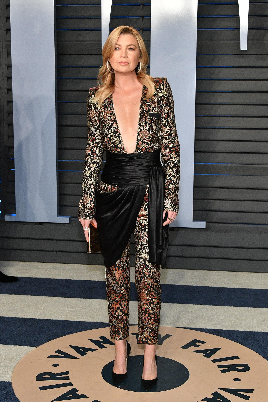 Ellen Pompeo, la reconocida protagonista de Grey`s Anatomy se sumó a la tendencia de llevar pantalones a las galas de Hollywood,