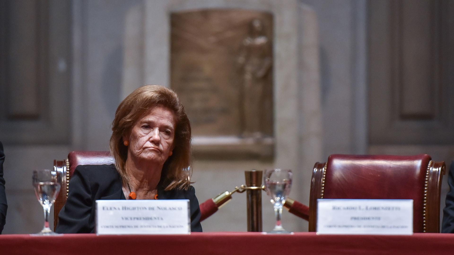La jueza de la Corte Suprema, Elena Highton de Nolasco