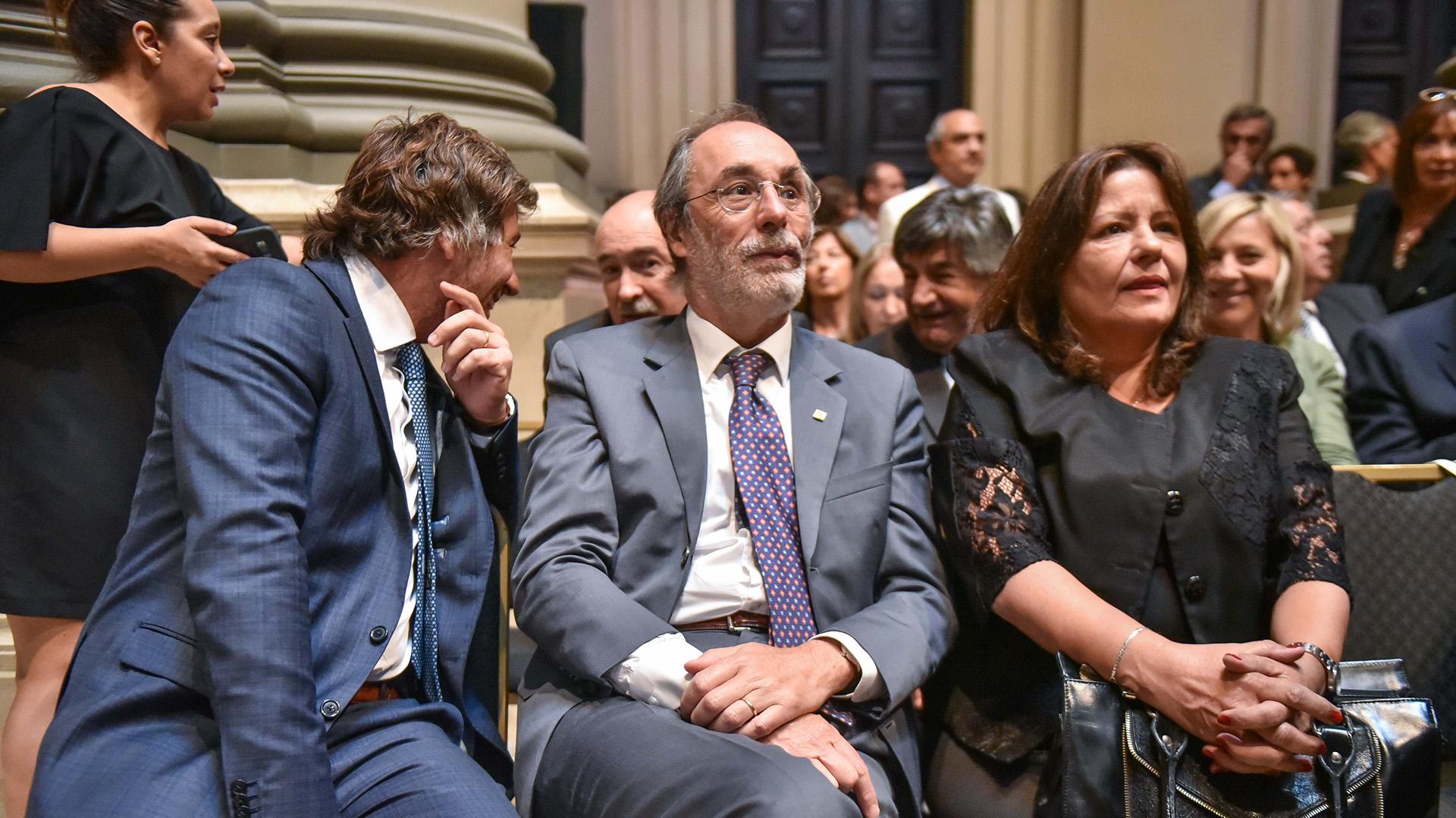El funcionario Juan Mahiques, el diputado nacional Pablo Tonelli y la consejera de la Magistratura Adriana Donato