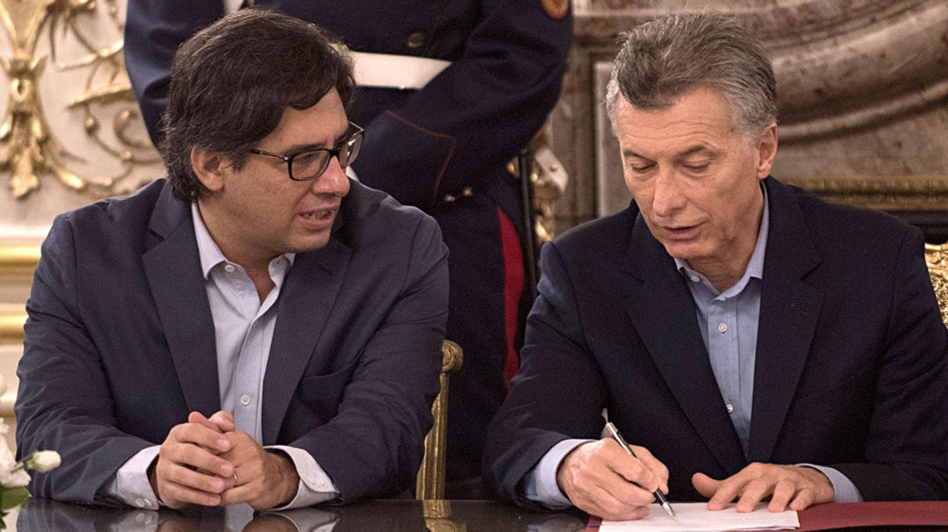 El presidente Mauricio Macri y el ministro de Justicia Germán Garavano