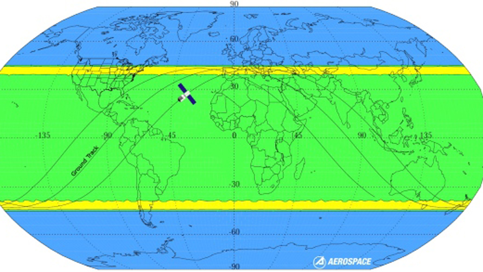 Los cálculos de la ESA. En amarillo, la franja con mayor probabilidad de que caigan los restos espaciales. La zona verde es poco probable. Y la azul no corre riesgo
