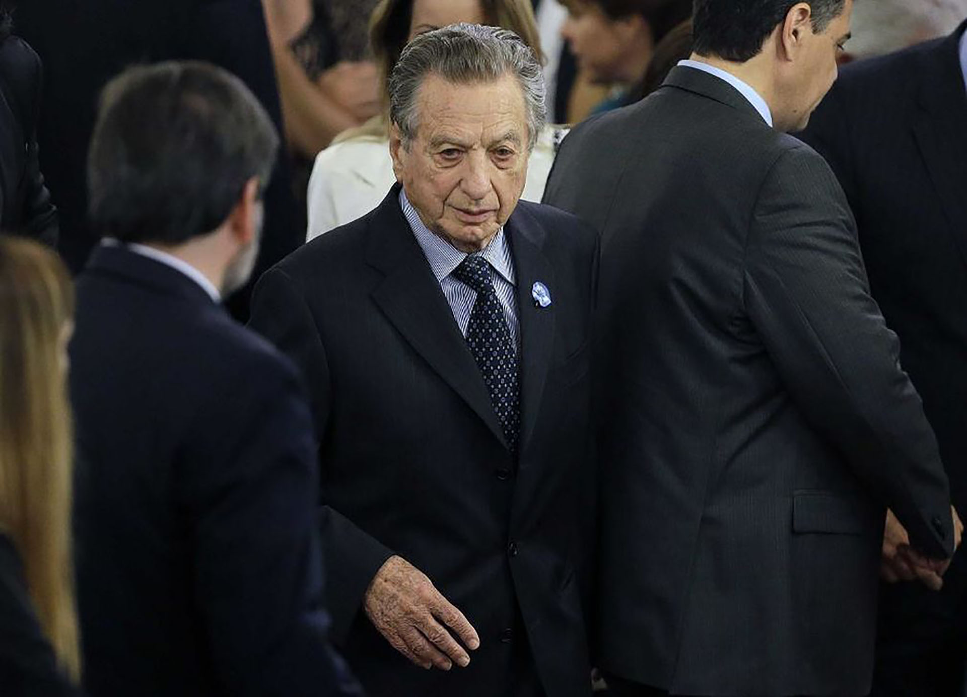 Franco Macri, papá del Presidente, en la ceremonia de entrega de los atributos del mando que se realizó en el Salón Blanco. Le había aconsejado que no se dedique a la política.