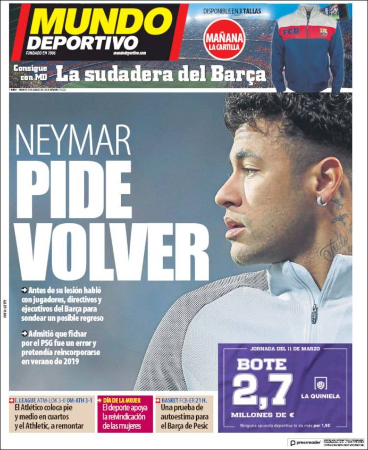Mundo Deportivo asegura que Neymar pidió volver al Barcelona