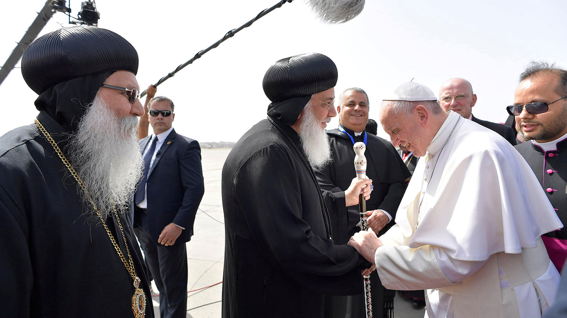 29 de abril de 2017: el papa Francisco celebró una histórica misa en Egipto. El Sumo Pontífice encabezó la ceremonia en un estadio de El Cairo, con capacidad para 30.000 personas.