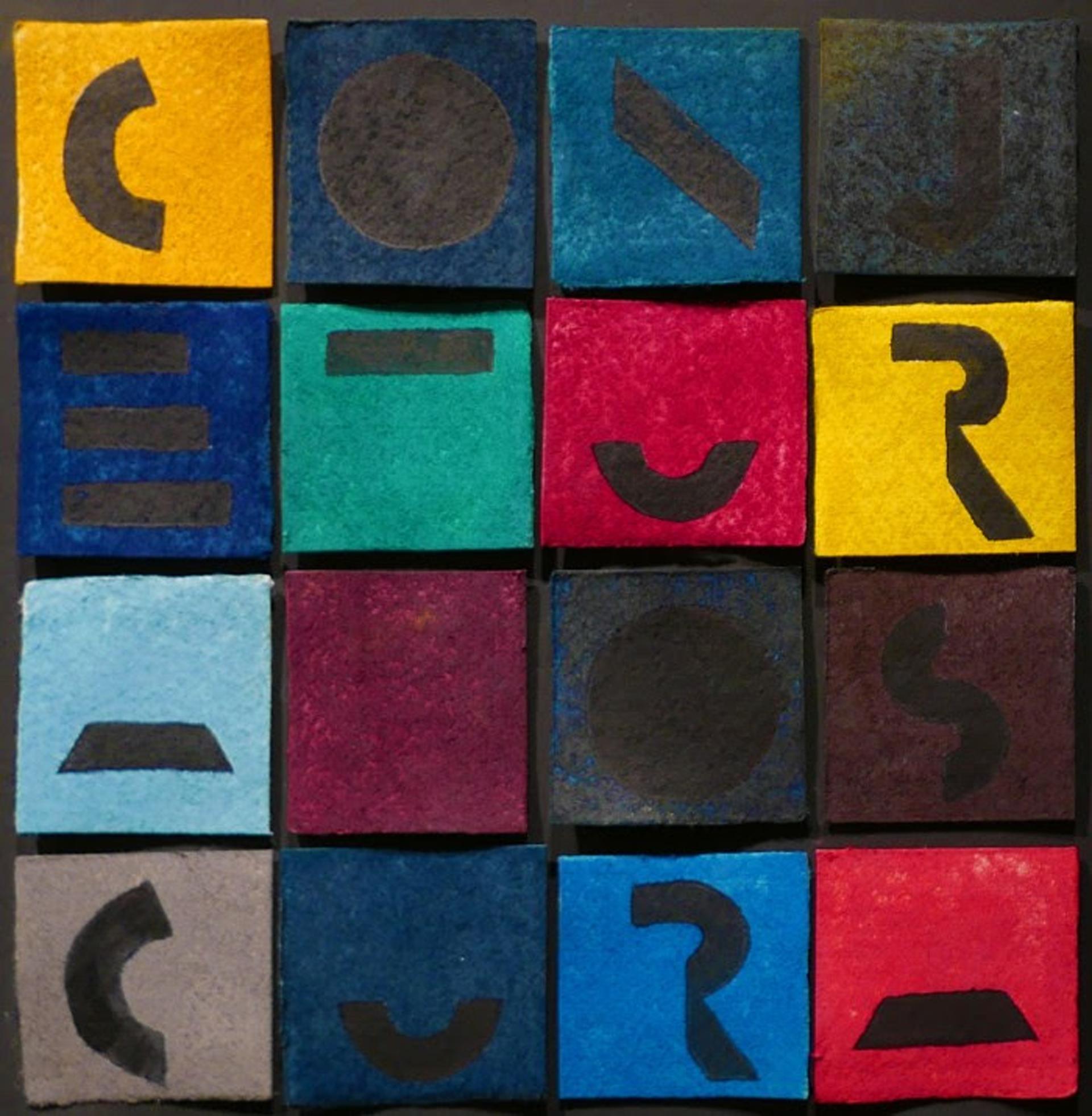 Oscura Conjetura, 2009. Esmalte, pastel y papel montado sobre cartón. 36,5 x 38,6 cm