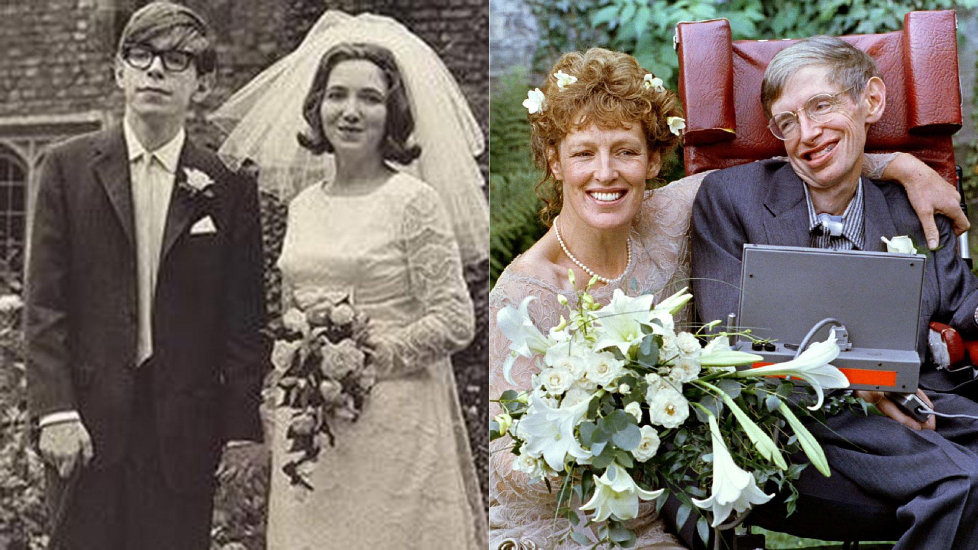 Las dos bodas de Hawking: con Jane Wilde, en 1965, y con Elaine Mason, en 1995